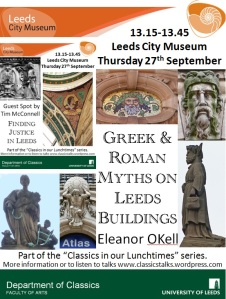Poster advertising the talk with images of classical characters on Leeds buildings