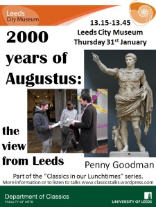 Poster for Penny's talk with images of Augustus' genius and students engaged in the survey outside Game