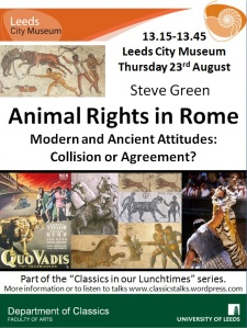 talk poster with images of animals in the context of Roman games