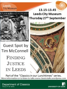 My poster for Tim's talk with images of Justice from Abtech House, Park Row and County Arcade, Leeds