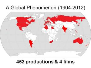 Map of the world showing countries in which a production of Trojan Women has taken place 1900-2012