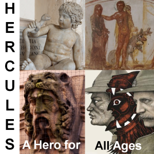 Hercules conference logo wth images of Hercules: a Roman sculpture, a fresco from a Christian catacomb, a Victorian sculpture from Leeds, a lithograph by Marian Maguire