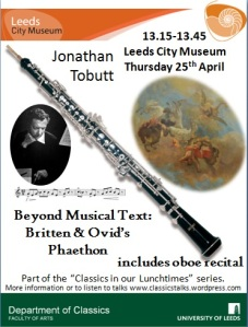 A poster with images of Benjamin Britten, an oboe and Phaethon falling from the Sun chariot from a ceiling fresco