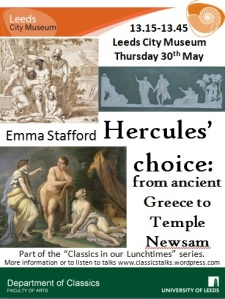 "Poster with images of the ""Choice of Hercules"". A line drawing, a Wedgewood plaque and Paolo de Matteis' oil painting."