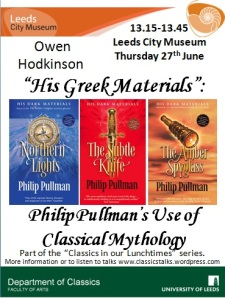 "Poster with talk details and images of the covers of Philip Pullman's ""Dark Materials"" books"