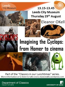 Poster with images of cyclopes from C5th BC to 2012