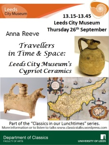 Poster with details and images of Cypriot pots and a map of Cyprus