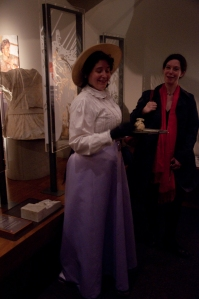 Anna Reeve (right) with Miss Stott (left: played by Eleanor OKell).
