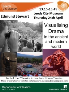 A poster with images of modern performances in ancient theatres and of modern actors costumed as characters from ancient drama