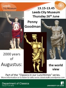 My poster for Penny's talk with images of the Prima Porta Augustus, including the original, a recoloured cast and a modern caricature.