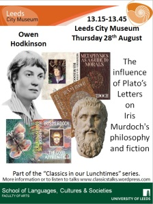 Poster with images of Iris Murdoch, Plato and some of Iris' book jackets by Tom Phillips.