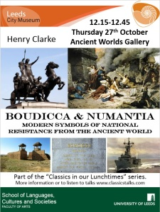 Poster with images of Boudicca and Numantia